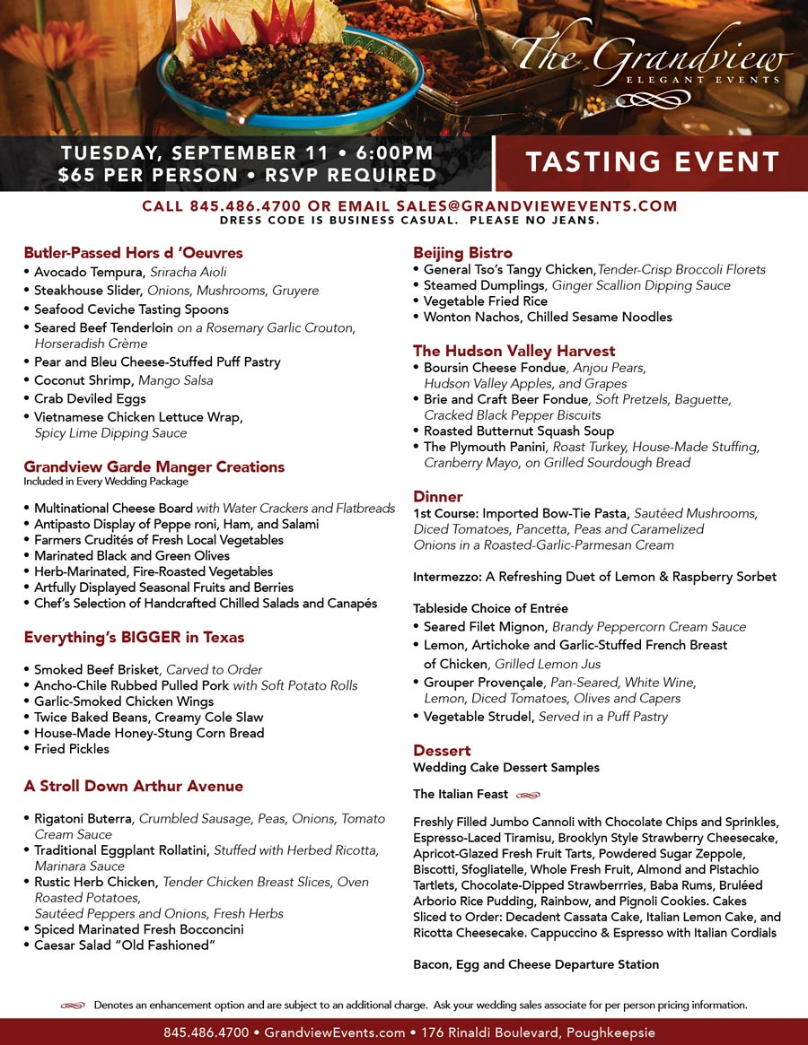 September 11th Tasting Event - The Grandview