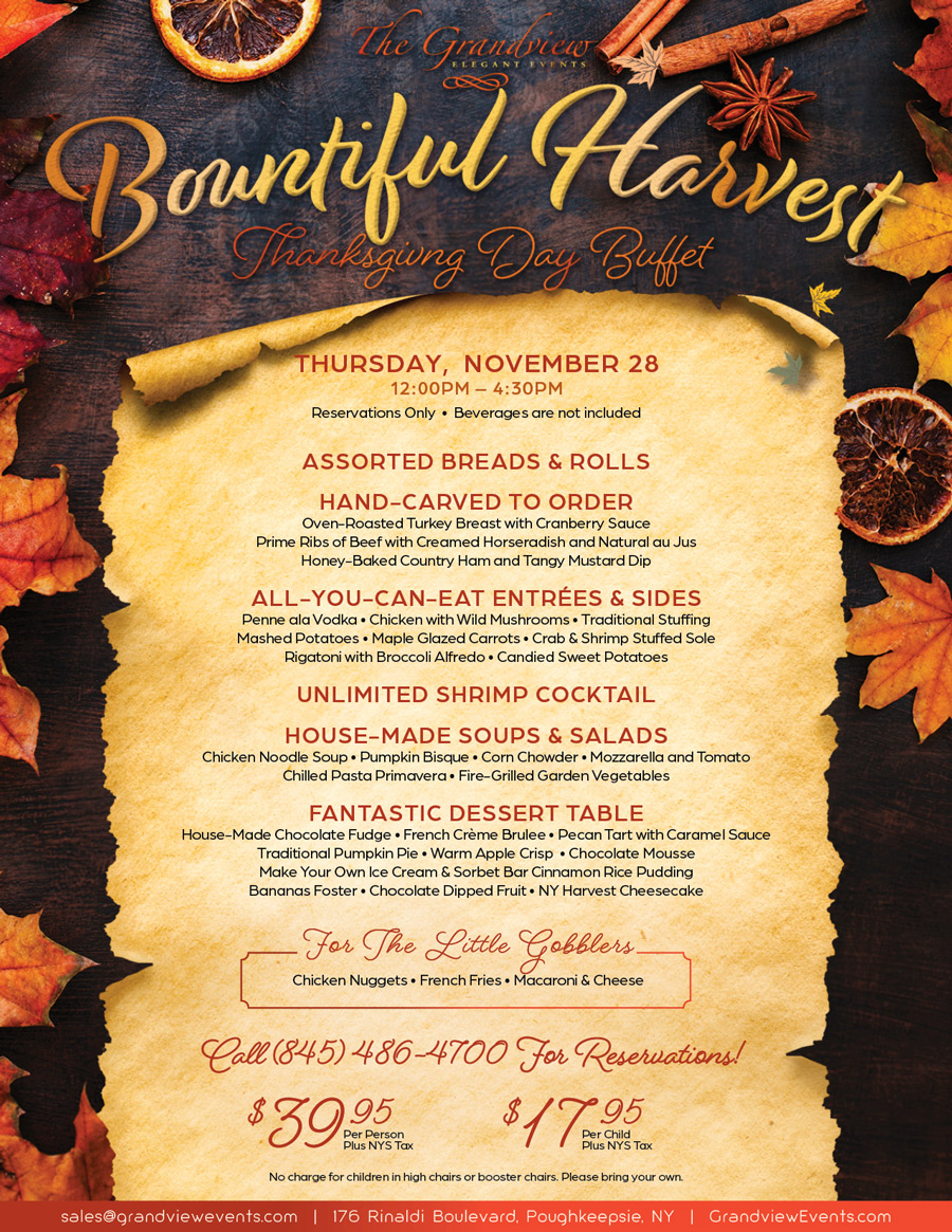 Thanksgiving Buffet at The Grandview Poughkeepsie